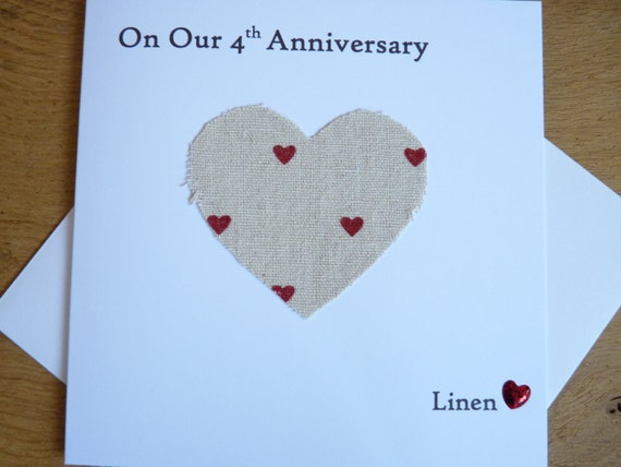 Gift Ideas For 4 Year Wedding Anniversary: 4th Wedding Anniversary Card Linen Husband Wife Four Years