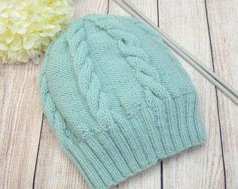 Cable knit hat Ready to ship Winter Knit hat Mint women's hat Women's winter accessories Wool hat Warm Handmade hat Mint winter hat