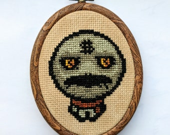 "Binding of Isaac Super Greed Cross Stitch in 3.5"" Oval Hoop"