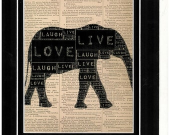 Vintage dictionary art of Elephant typography