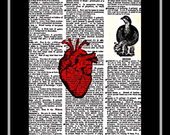 418 Red heart art vintage dictionary art print 418