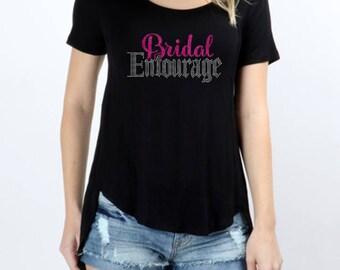 Bridal Entourage Rhinestones Short Sleeve Scoop Neck Hi-Low Top