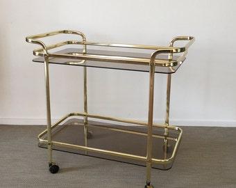 70s of Golden Tea Trolley Trolley with smoke glass plate
