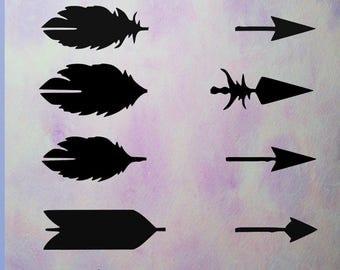Arrow silhouettes, digital download, Arrows feathers, Arrow svg clipart,