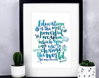 Education Is The Most Powerful Weapon Print - Watercolour Print - Teacher Gifts - Teacher Appreciation Gift - Thank you Gift