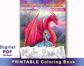 Printable Digital Download - Fantasy World  Coloring Book( Grayscale) by Alena Lazareva