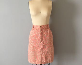 SALE...peach pink denim skirt || 1980s floral denim pencil skirt