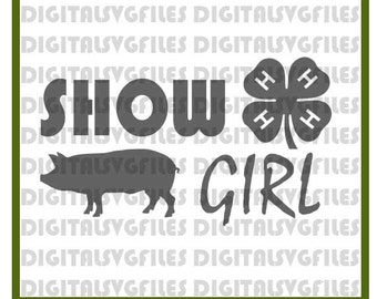 Show Girl Livestock Pig SVG File, Show Pig SVG File, Farm Animals SVG-Vector Clip Art for Commercial & Personal Use-Cricut, Show Girl 4H svg