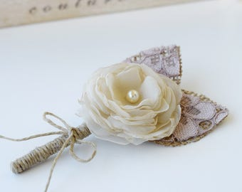 Boutonniere for Wedding Burlap