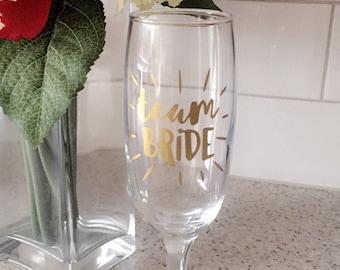 Team Bride Vinyl Decal Sticker for hen party glass prosecco wine bride bridesmaid