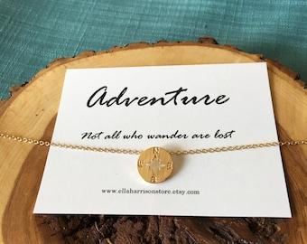 Gold compass charm-adventure necklace charm; gold necklace, compass charm, gift for her, best friend, wanderlust sentiment, charm necklace
