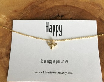 Gold Bee Charm Necklace; Bee Charm with Sentiment; inspirational message, gift for her, encouragement necklace and charm