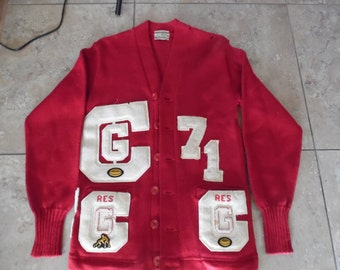 Vintage Em-Roe Indianapolis Award Letterman Sweater Red