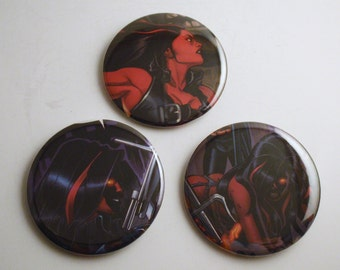 """Red She-Hulk 2.25"""" Recycled Comic Button Set of 3"""