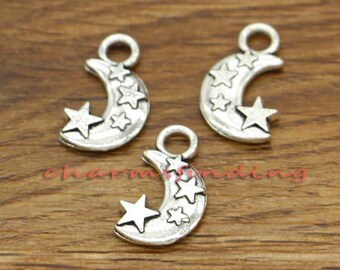 20pcs Moon Charms Moon and Star Charms Antique Silver Tone 21x13mm cf0247