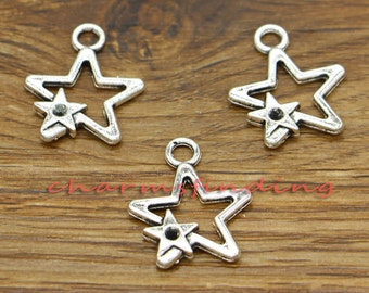 50pcs Hand charms silver tone hand made charm Pendants  2 sided 12x13mm
