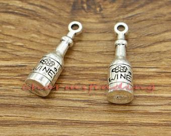 10pcs Wine Bottle Charms Wine Drink Charm Antique Silver Tone 8x28x8mm cf2889