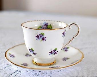 Vintage Royal Stafford Sweet Violets Bone China Footed Teacup and Saucer Set / Purple Violets Teacup and Saucer / Purple Violets China
