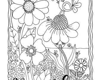 Time To Tweet, 1 Adult Coloring Book Page, Instant Download, Flowers, Fairy Houses