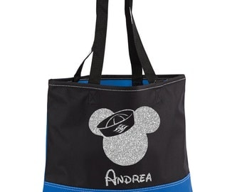 Mickey Mouse Bag,Silver Glitter,Heavy tote bag,Disney Cruise Bag,Mickey Mouse Tote Bag,Disney Cruise,Disney Tote,Convention Tote,Mickey Tote