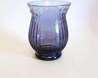 Sheer Purple Pressed Glass Vase