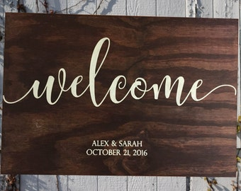 Welcome Wedding Sign, Framed Wooden Sign, Farmhouse Decor, Rustic Sign, Wood Sign, Wall Hanging