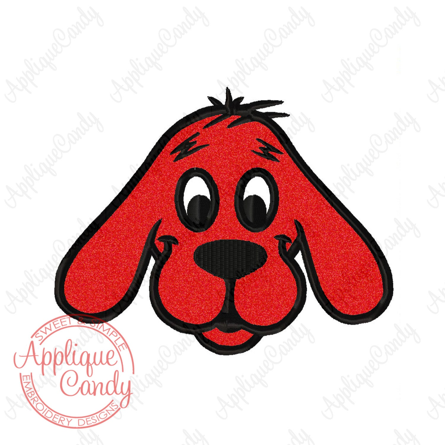CliffOrd Big Red Dog Applique Machine Embroidery Design 4x4