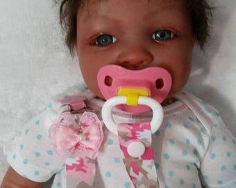 FREE SHIPPING !!!  Pink Camo Pacifier Clip, Reborn Baby, Reborn Pacifier Clip, Baby Pacifier Clip, Baby Gift
