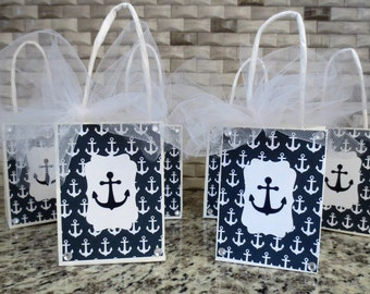 Nautical - Anchor - Party Favor Gift Bags - Set Of 6