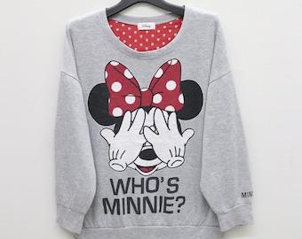 Vintage Minnie Mouse Who's Minnie? Love And Kisses Cartoon Gray Sweatshirt Sweater