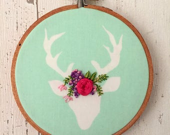 Woodland Nursery Decor, Deer Embroidered Wall Art, Floral Embroidery Stag Head Decor, Stag Decor, Deer Head Wall Hanging, Baby Gift