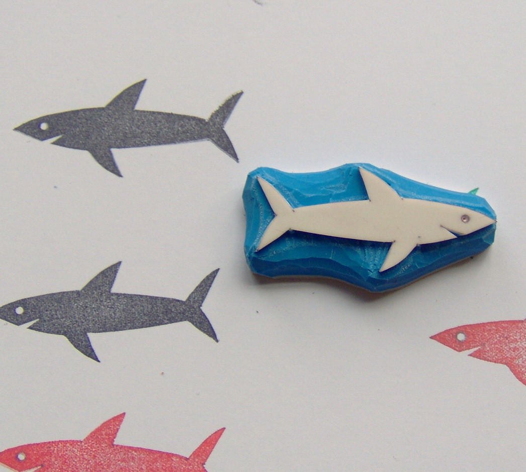 Shark stamp shark hand carved rubber stamp sea life for Four man rubber life craft