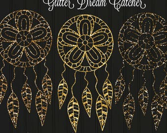 Gold and Silver Glitter Dreamcatcher Set of 10 PNG Files 300 DPI Clipart Instant Download Commercial use Boho Tribal