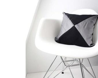 Rachel Pillow Cover -Black & Grey
