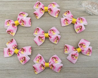 Belle Hair Bows, Belle Party Favors, Belle Birthday Party, Belle Hair Bows Party Favors, Beauty and the Beast
