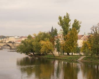 A side view to Strelecky Island near the Charles bridge in Prague