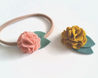 Felt Flower Headband, Felt Flower Hair Clip, Simple Hydrangea, CUSTOM COLORS