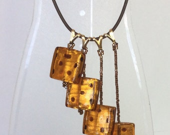 Roll of the Dice Necklace, Murano Glass Necklace, Dice Necklace, Pendant Necklace, Drop Necklace