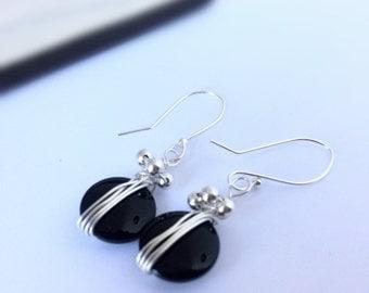 Black Glass Sterling Silver earrings