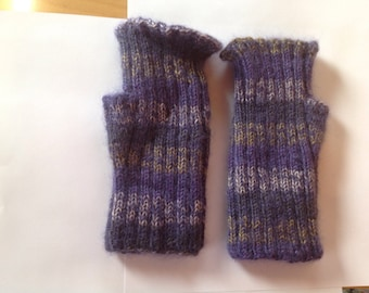 Fuzzy purple, olive and gray fingerless gloves