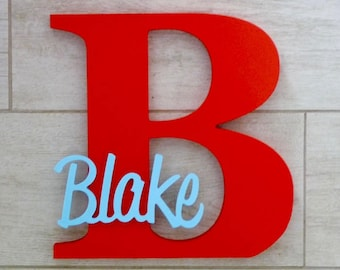 Wooden Letters - Kids Wooden Letters Name Sign - Nursery Decor - Kids bedroom decor - Kids name sign - Red