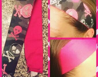Reversible pink zebra skull camo headband