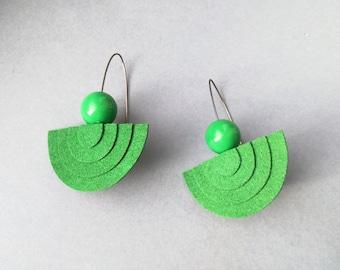 Green statement earrings, Mod earrings, Green geometric earrings, Lightweight earrings, 60s earrings, Big bold earrings, Felt earrings