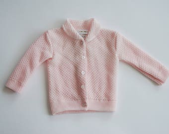 Vintage Infant Pink Knit Cardigan |  Collared Baby Girl's Button-Up Sweater |  Size 0 to 6 months