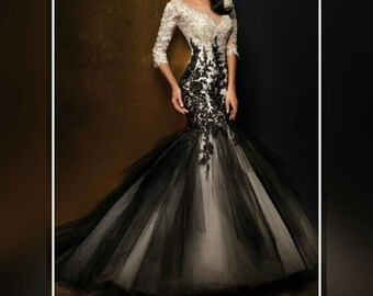 Black wedding dress etsy black wedding dress mermaid black wedding dress mermaid wedding dress long sleeve wedding junglespirit Choice Image
