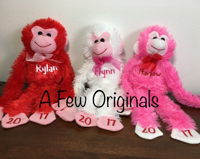 Personalized Name Valentine's Monkey Plush/Plushies/Stuffed Animals 2017 gift for children/kids
