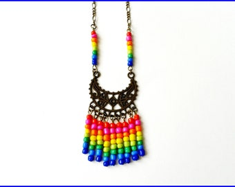 Necklace ethnic bronze metal beads from Mexico Rainbow