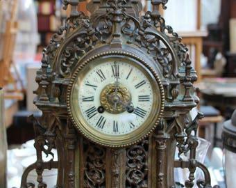 Bronze pendulum, antique bronze pendulum, bronze mantel clock, antique bronze mantel clock, antique fireplace bronze pendulum, pendulum