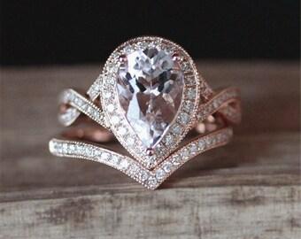 VS 6*8mm Pear Cut Morganite Engagement Ring Set Milgrain Bezel Ring Curved Half  Eternity Diamonds Wedding Ring Set 14K Rose Gold Ring Set