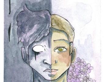 """Original 6""""x9"""" Dark Surreal Watercolor Painting; """"Split"""""""